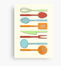 Kitchen Utensil Colored Silhouettes on Cream II Metal Print
