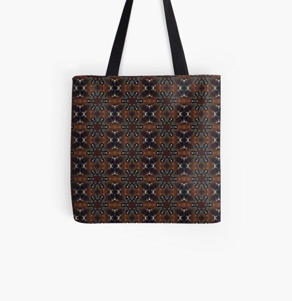 Circular kaleidoscopic Mandarin Duck pattern All Over Print Tote Bag