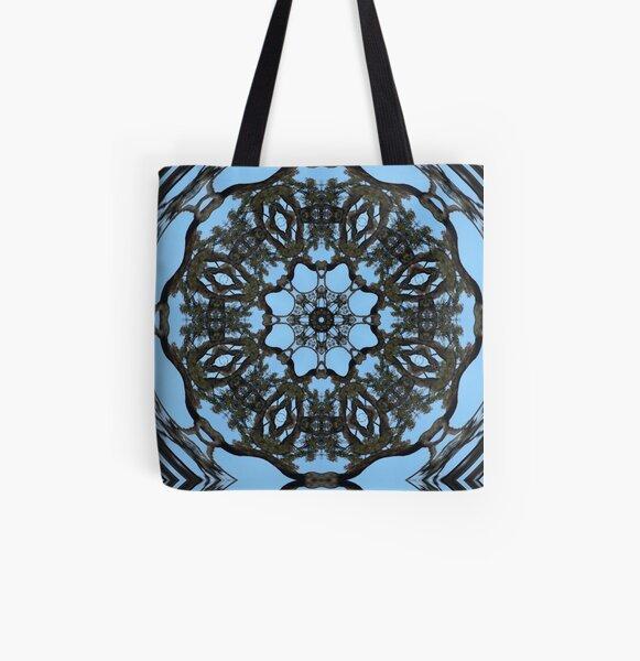Circular kaleidoscopic tree pattern  All Over Print Tote Bag