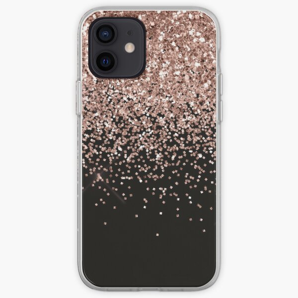 Rose Gold Sparkle Glitter Fading Border  iPhone Soft Case
