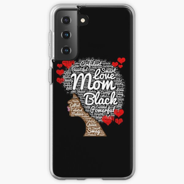 African American Mom Words in Afro Gift Samsung Galaxy Soft Case