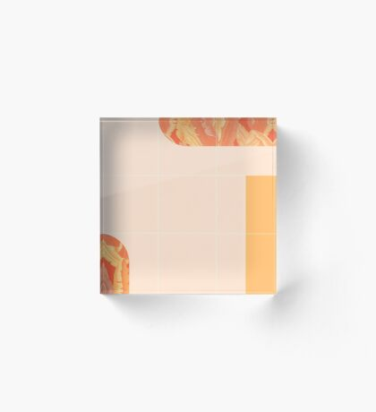 Mid-Century Tropical Orange Mood #redbubble #tropical Acrylic Block