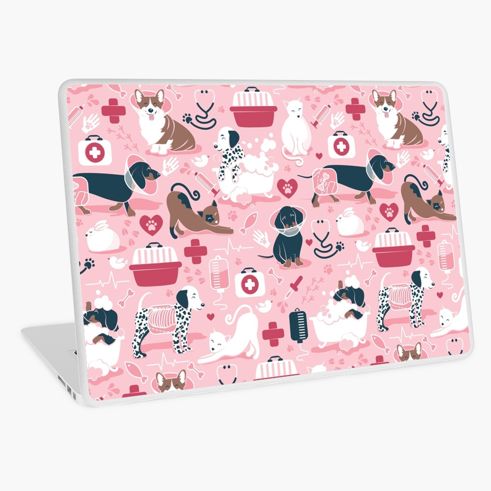 Veterinary medicine, happy and healthy friends // pink background red details navy blue white and brown cats dogs and other animals Laptop Skin