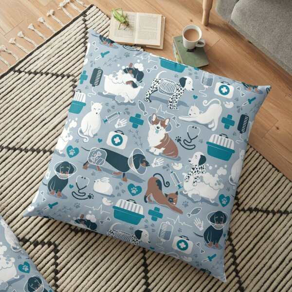 Veterinary medicine, happy and healthy friends // blue background turquoise details navy blue white and brown cats dogs and other animals Floor Pillow