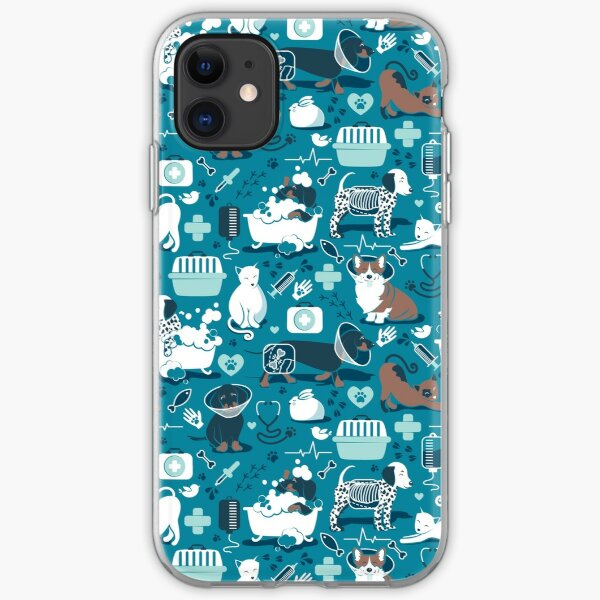 Veterinary medicine, happy and healthy friends // turquoise background aqua details navy blue white and brown cats dogs and other animals iPhone Soft Case
