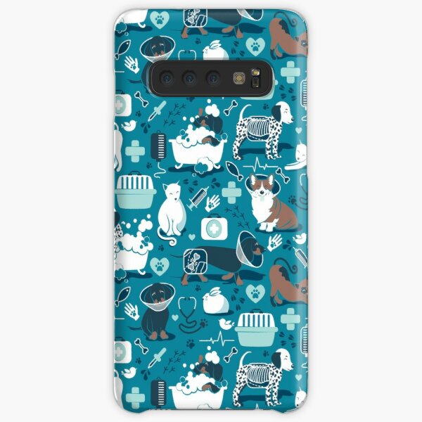 Veterinary medicine, happy and healthy friends // turquoise background aqua details navy blue white and brown cats dogs and other animals Samsung Galaxy Snap Case