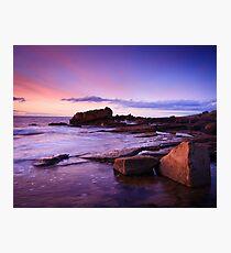 Hopeman Rocks at Dusk Photographic Print