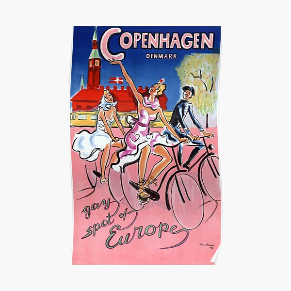 Copenhagen Vintage Travel Poster Restored Poster
