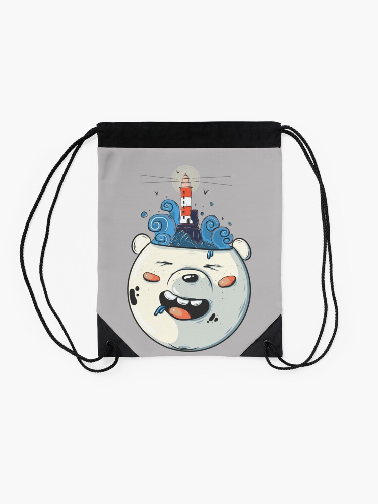 Alternate view of Ice Bear Get Idea. We Bare Bears fan art. Drawstring Bag