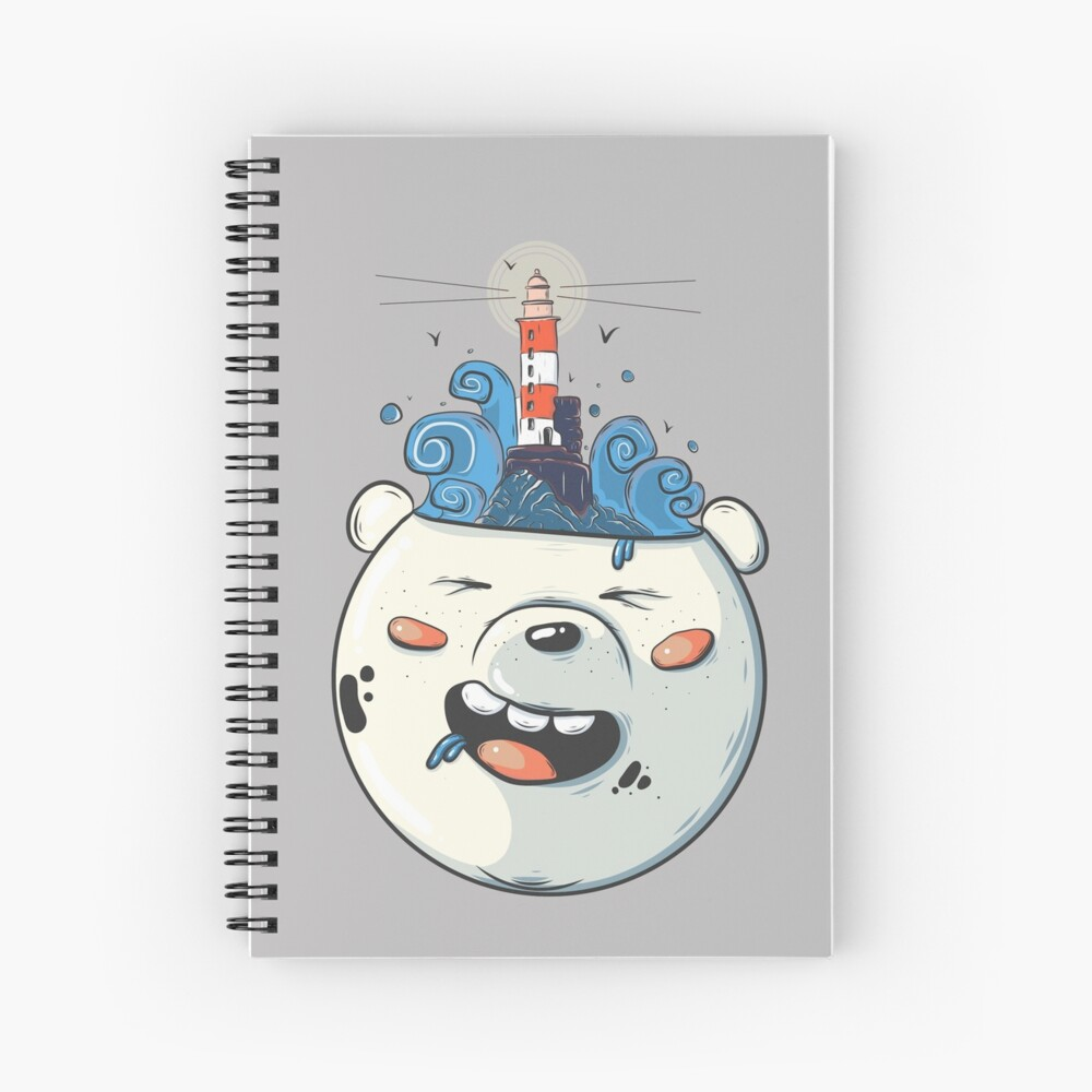 Ice Bear Get Idea. We Bare Bears fan art. Spiral Notebook