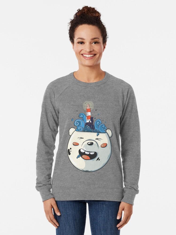 Alternate view of Ice Bear Get Idea. We Bare Bears fan art. Lightweight Sweatshirt