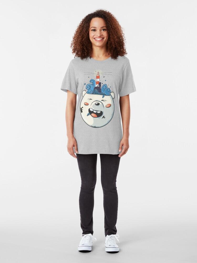 Alternate view of Ice Bear Get Idea. We Bare Bears fan art. Slim Fit T-Shirt