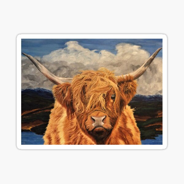 Highland Cow Greeting Card (Blank) Sticker