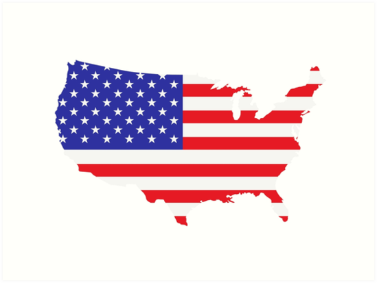 American Flag USA Map Outline Art Prints By Frostyourlife Redbubble - Outline of usa map