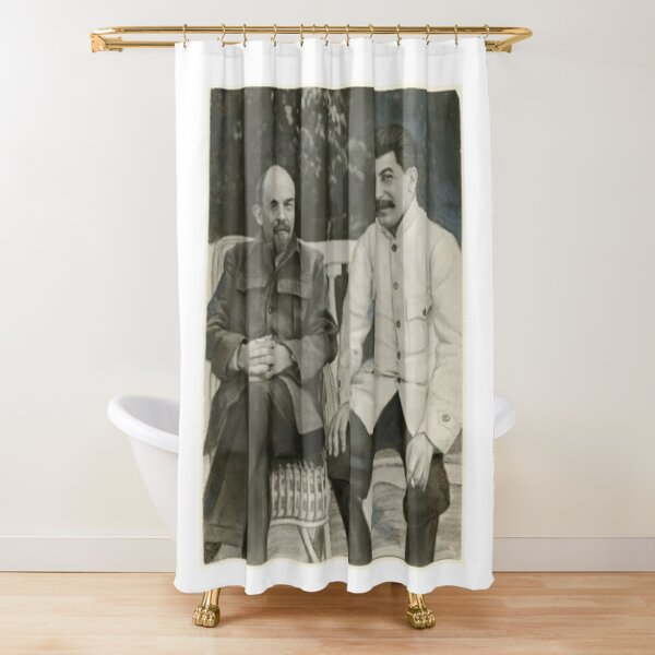 Heavily #retouched #photograph of #Stalin and #Lenin Shower Curtain