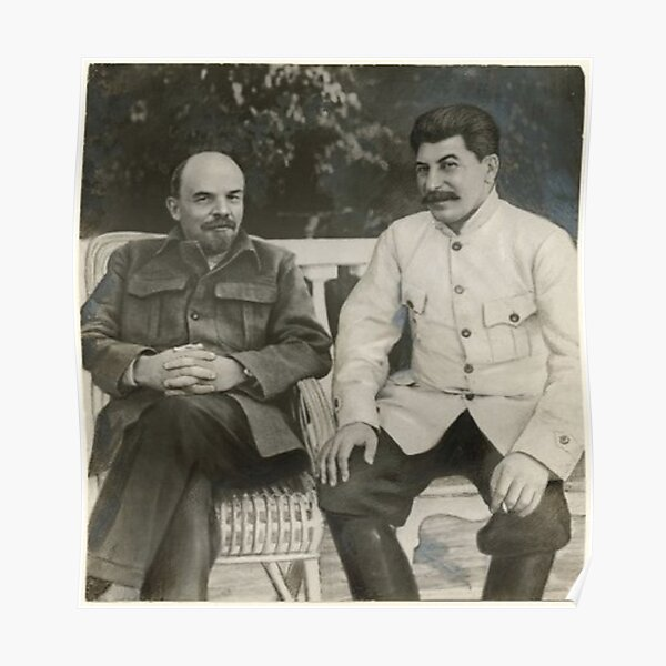 Heavily #retouched #photograph of #Stalin and #Lenin Poster