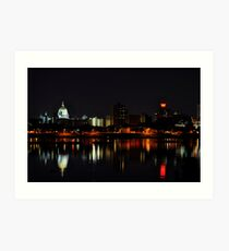 A Harrisburg Night Skyline Art Print