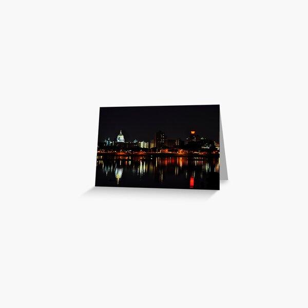 A Harrisburg Night Skyline Greeting Card