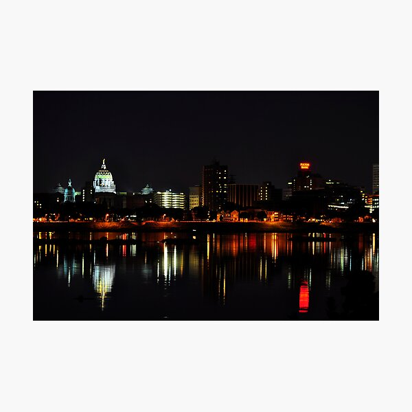 A Harrisburg Night Skyline Photographic Print