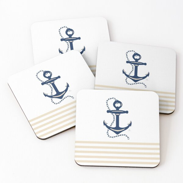 AFE Navy Nautical Anchor Coasters (Set of 4)