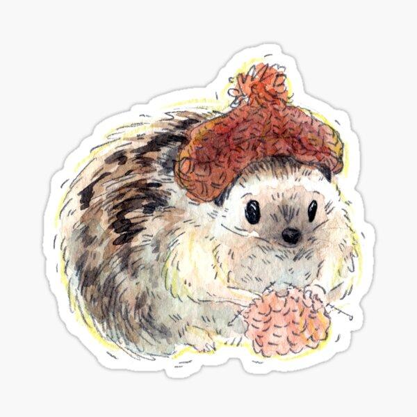 Cozy Knitting Hedghog Sticker