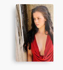 Stacey - red cowl 1 Metal Print