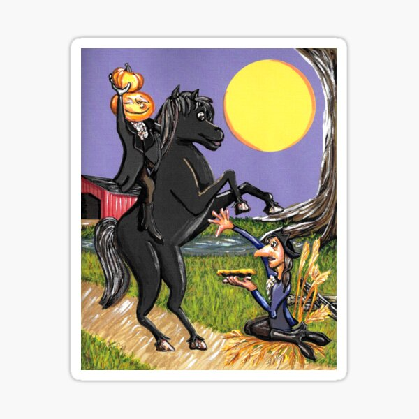Headless Horseman Ichabod Crane Sleepy Hollow Exchanging Pumpkin Sticker