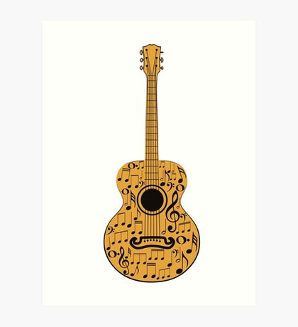 Gitarre und Musik Noten 4 Kunstdruck