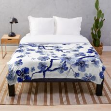 Navy Japanese Flowers Throw Blanket