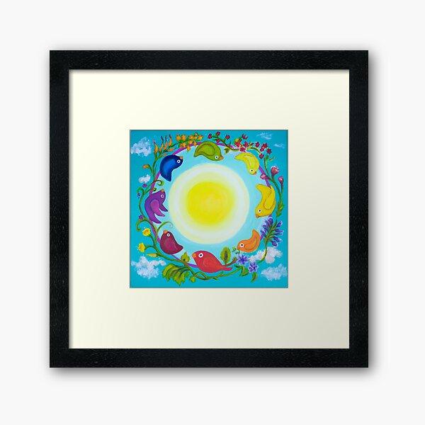 Rainbow Circle Flourishes Framed Art Print
