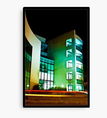 Office Block and Light Trails Canvas Print