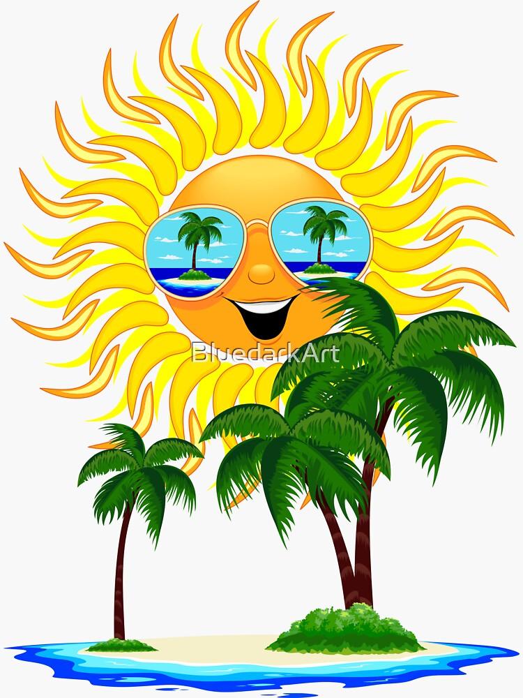 Happy Summer Sun and Tropical Island by BluedarkArt