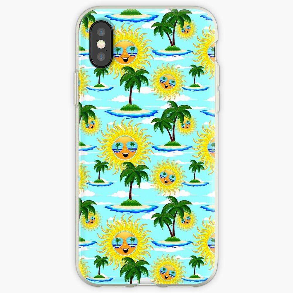 Happy Summer Sun and Tropical Island iPhone Case & Cover