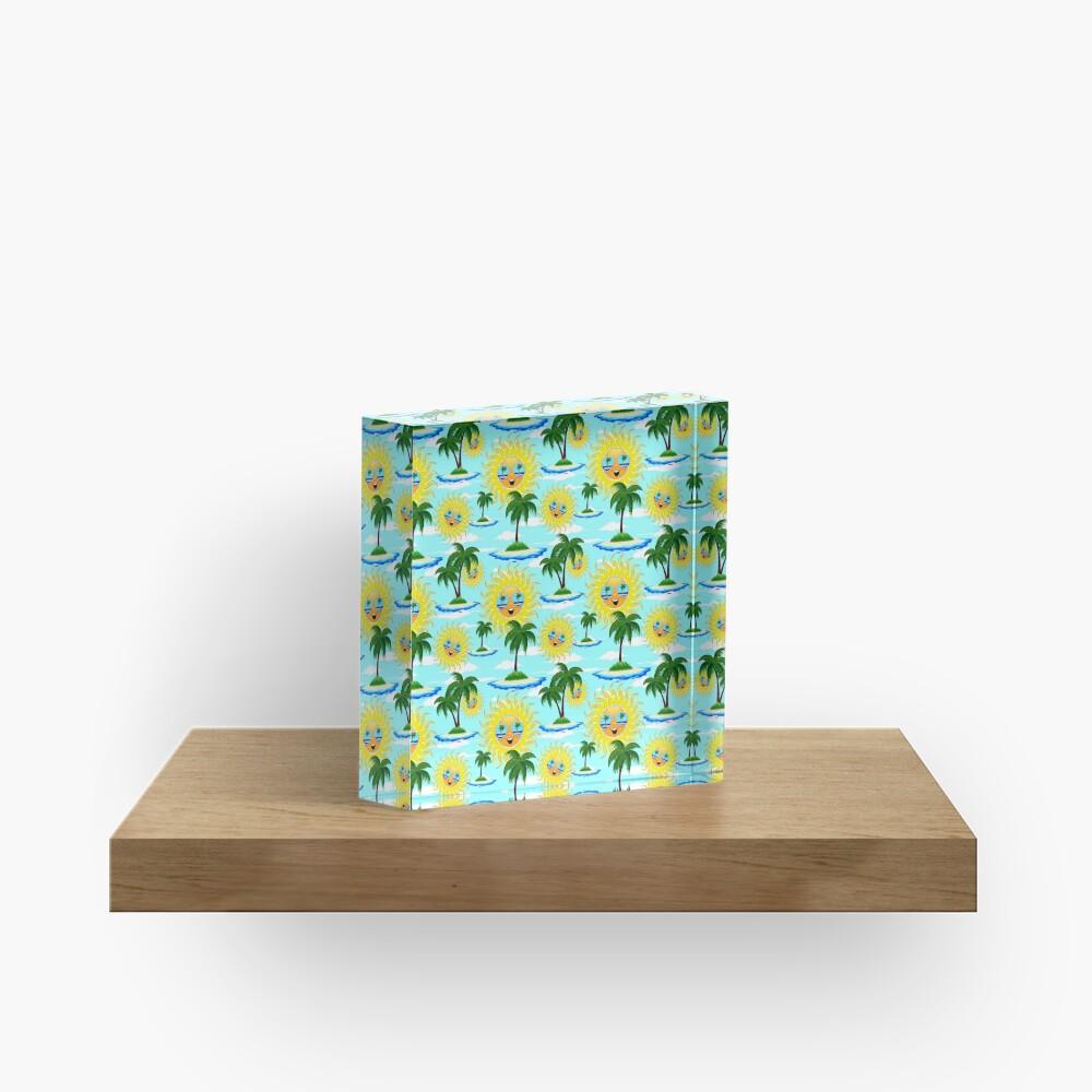 Happy Summer Sun and Tropical Island Acrylic Block