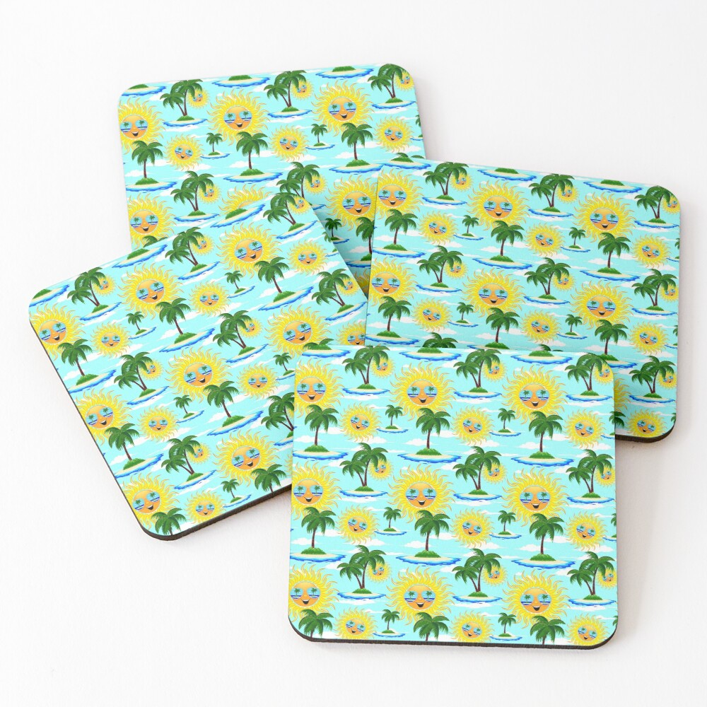 Happy Summer Sun and Tropical Island Coasters (Set of 4)