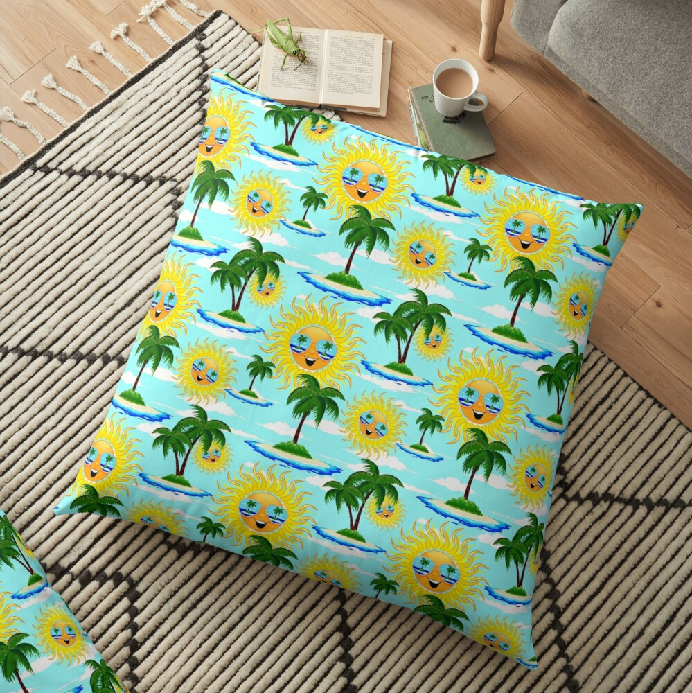 Happy Summer Sun and Tropical Island Floor Pillow