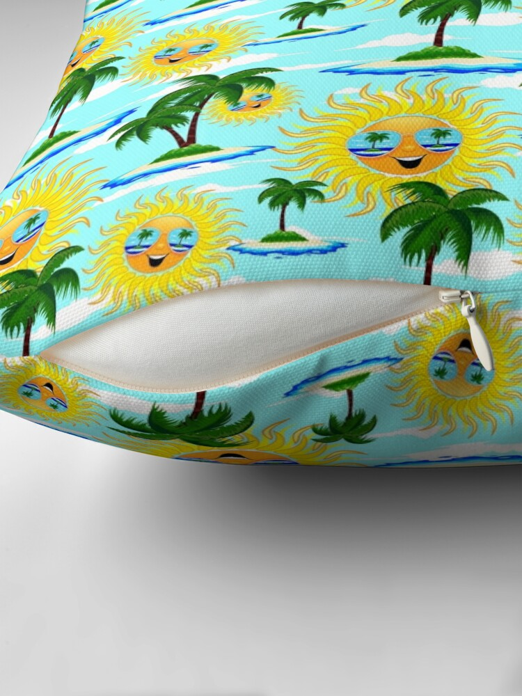 Alternate view of Happy Summer Sun and Tropical Island Floor Pillow