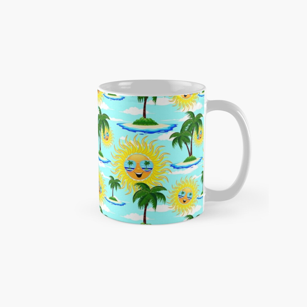 Happy Summer Sun and Tropical Island Mug