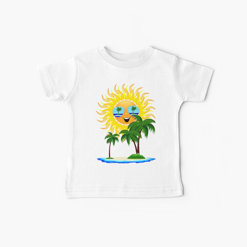 Happy Summer Sun and Tropical Island Baby T-Shirt