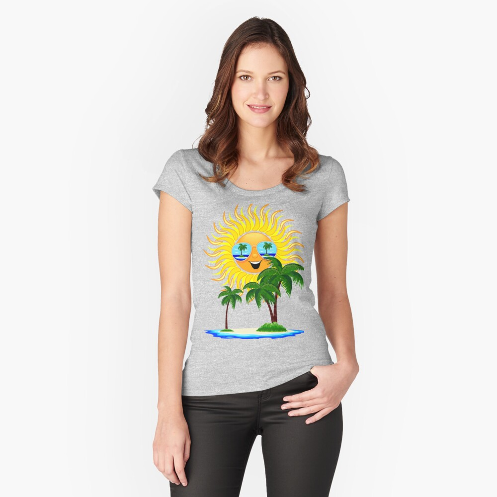 Happy Summer Sun and Tropical Island Fitted Scoop T-Shirt