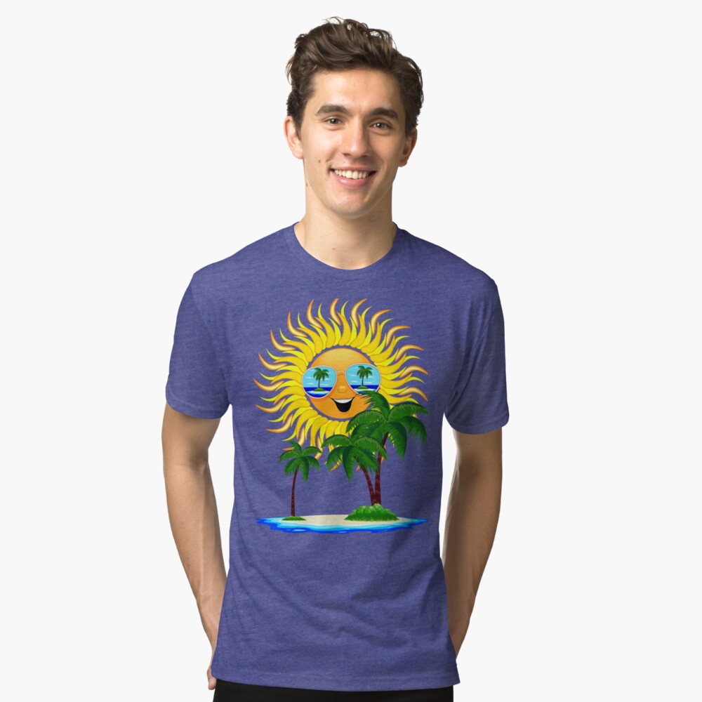 Happy Summer Sun and Tropical Island Tri-blend T-Shirt