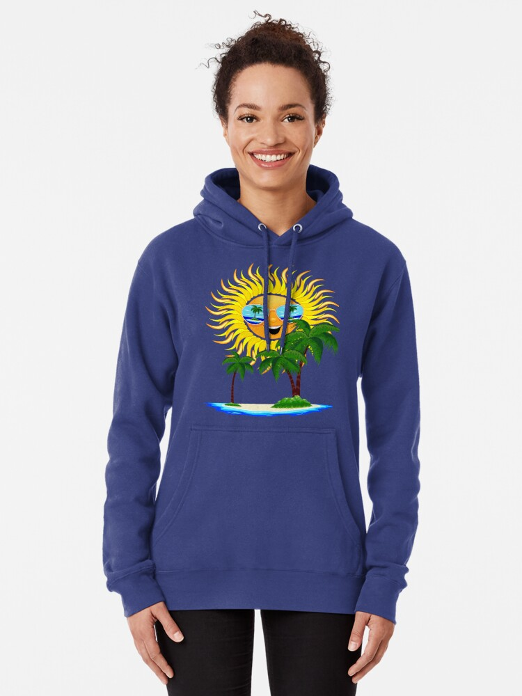 Alternate view of Happy Summer Sun and Tropical Island Pullover Hoodie
