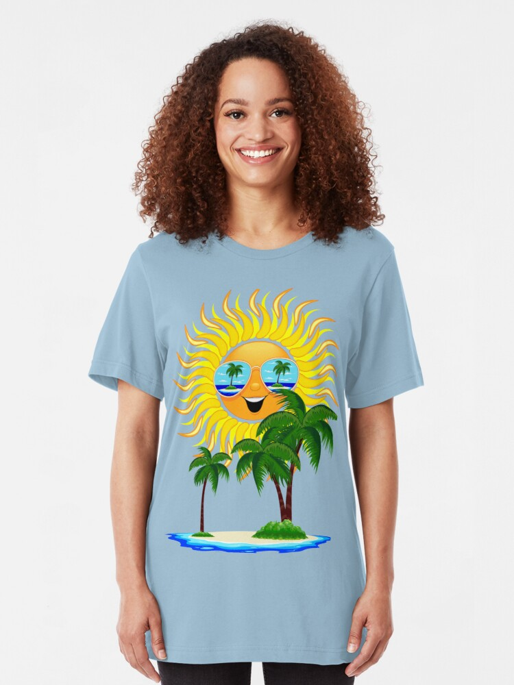 Alternate view of Happy Summer Sun and Tropical Island Slim Fit T-Shirt