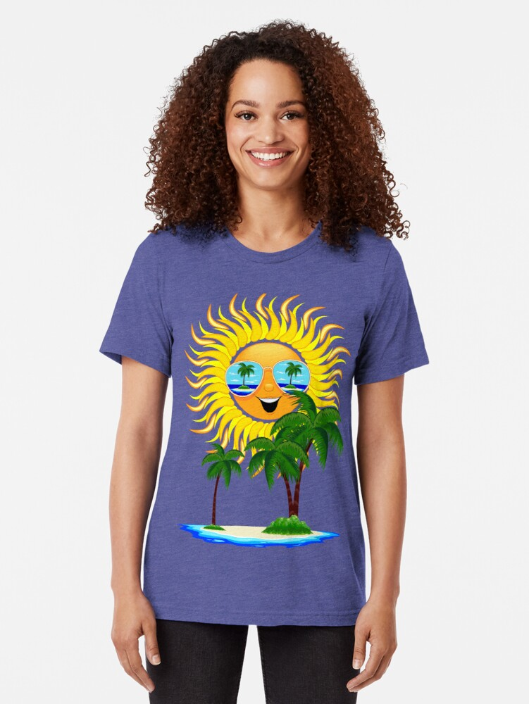 Alternate view of Happy Summer Sun and Tropical Island Tri-blend T-Shirt