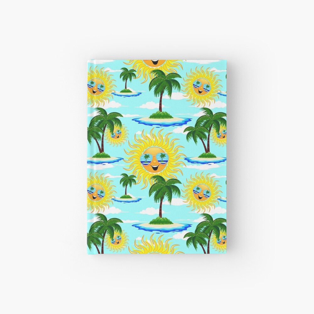 Happy Summer Sun and Tropical Island Hardcover Journal