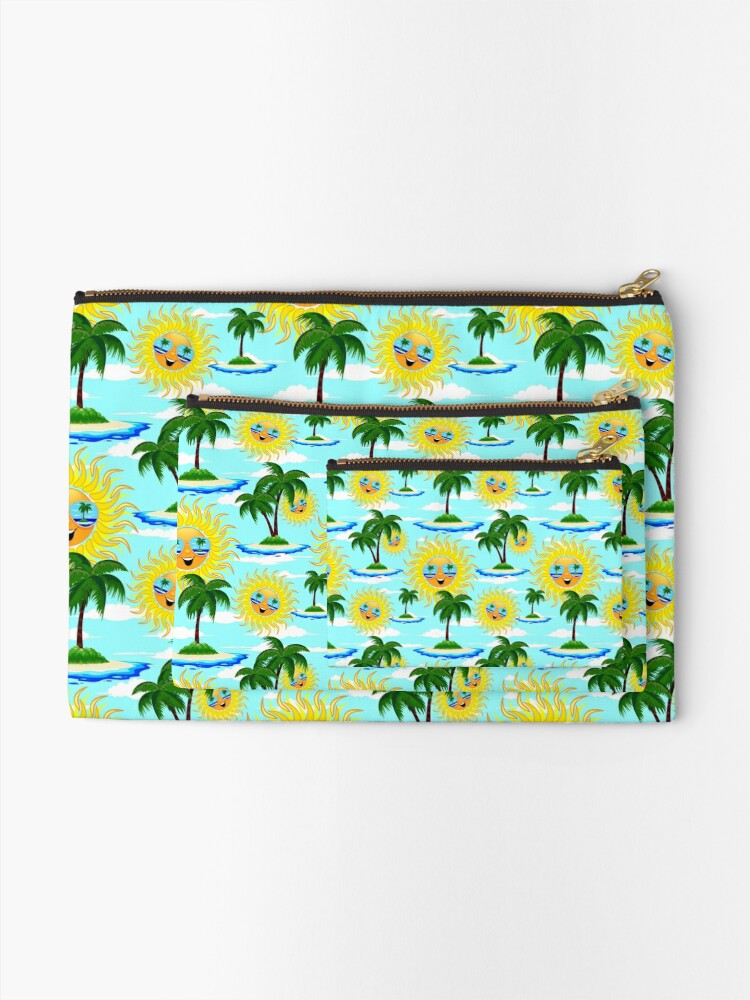Alternate view of Happy Summer Sun and Tropical Island Zipper Pouch