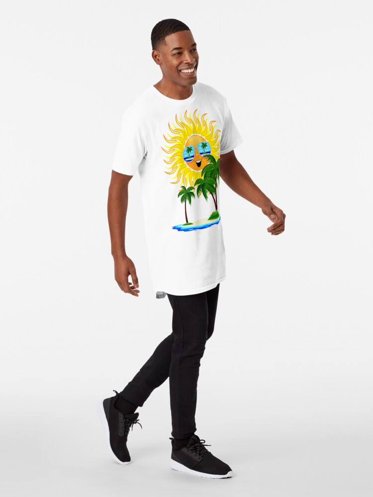 Alternate view of Happy Summer Sun and Tropical Island Long T-Shirt