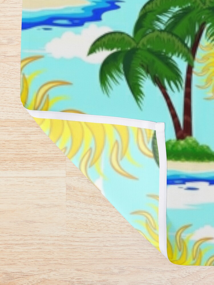 Alternate view of Happy Summer Sun and Tropical Island Shower Curtain