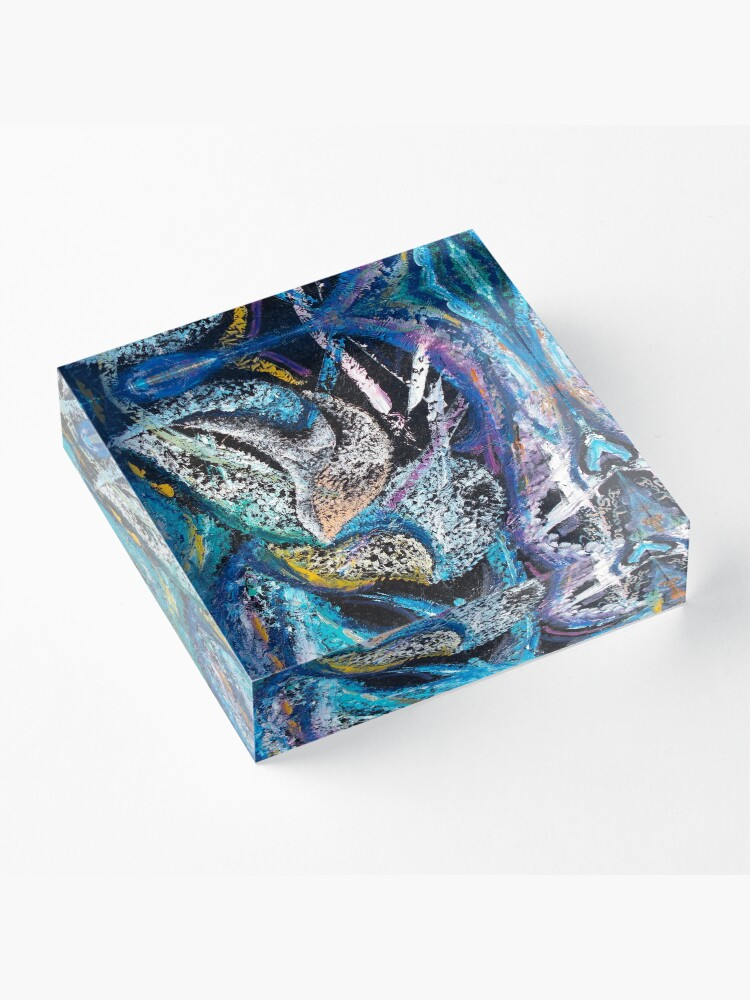 Alternate view of Blue Lily Abstract Art Acrylic Block