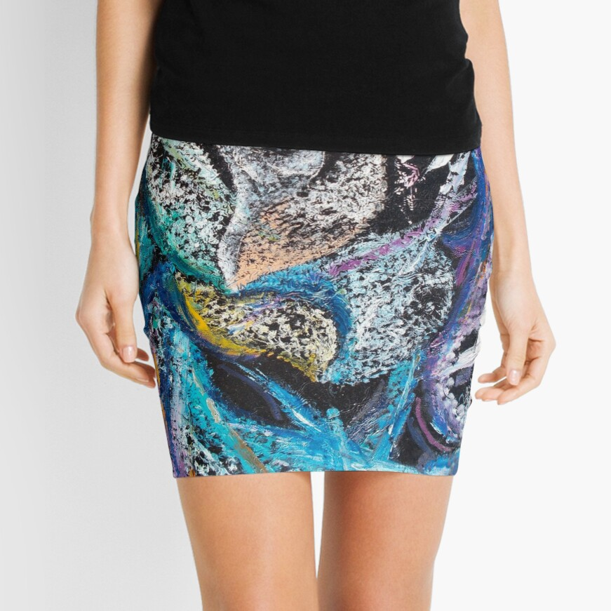 Blue Lily Abstract Art Mini Skirt